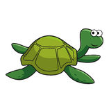 Cartoon smiling green turtle character Royalty Free Stock Image