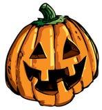 Cartoon of smiling halloween carved pumpkin Royalty Free Stock Photos