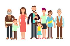Cartoon smiling happy family. Grandpa and grandma, dady, mom and children vector illustration. Family father and mother, child girl boy royalty free illustration