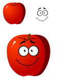Cartoon smiling happy red apple fruit Stock Image