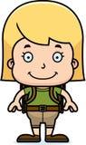Cartoon Smiling Hiker Girl Royalty Free Stock Photos
