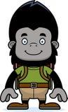 Cartoon Smiling Hiker Gorilla Stock Image
