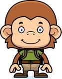 Cartoon Smiling Hiker Monkey Royalty Free Stock Photos