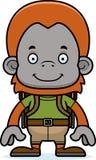 Cartoon Smiling Hiker Orangutan Stock Photo