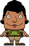 Cartoon Smiling Hiker Woman Royalty Free Stock Photography