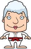 Cartoon Smiling Karate Woman Royalty Free Stock Photo