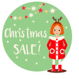 Cartoon smiling kid girl character wearing winter clothes. Christmas Sale banner Royalty Free Stock Photo