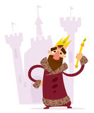 Happy cartoon king in front of his castle. A cartoon smiling king with crown and mace standing standing in front of his castle Stock Photos