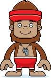 Cartoon Smiling Lifeguard Sasquatch Stock Image