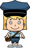 Cartoon Smiling Mail Carrier Girl Royalty Free Stock Photos