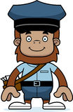 Cartoon Smiling Mail Carrier Sasquatch Royalty Free Stock Image