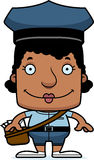 Cartoon Smiling Mail Carrier Woman Stock Photo