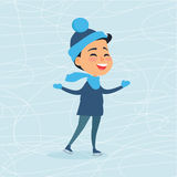 Cartoon Smiling Male Person on Icerink in Winter Stock Photos