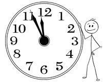 Cartoon of Smiling Man or Businessman Holding Big Wall Clock Five Minutes Before Twelve Hours. Cartoon stick man drawing conceptual illustration of smiling Royalty Free Stock Images