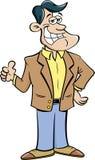 Cartoon smiling man giving thumbs up. Stock Photos