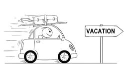 Cartoon of Smiling Man Going in Small Car. Arrow Sign With Vacation Text. Cartoon stick man drawing conceptual illustration of smiling man in small car going on Royalty Free Stock Images