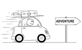 Cartoon of Smiling Man Going in Small Car on Holiday or Vacation. Arrow Sign With Adventure Text. Cartoon stick man drawing conceptual illustration of smiling Royalty Free Stock Images