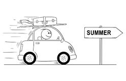 Cartoon of Smiling Man Going in Small Car on Holiday or Vacation. Arrow Sign With Summer Text. Cartoon stick man drawing conceptual illustration of smiling man Royalty Free Stock Images