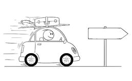 Cartoon of Smiling Man Going in Small Car On Vacation or Holiday. Cartoon stick man drawing conceptual illustration of smiling man in small car going on holiday Stock Image