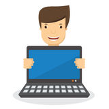 Cartoon smiling man holding a laptop computer. Vector illustrati Stock Image