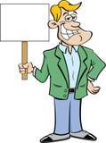Cartoon smiling man holding a sign. Stock Photo
