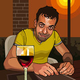 Cartoon smiling man sitting at a table with a glass of wine Stock Image