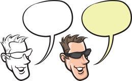 Cartoon smiling man in sunglasses face. Vector illustration of cartoon smiling man in sunglasses face stock illustration