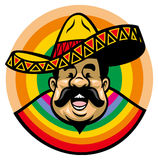 Cartoon of smiling mexican man with sombrero Royalty Free Stock Photo