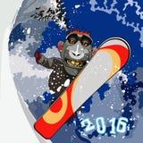 Cartoon smiling monkey gorilla snowboarding Royalty Free Stock Photo