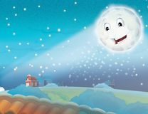 Cartoon smiling moon by the night with the stars Stock Images