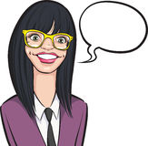 Cartoon smiling nerd girl in glasses with speech bubble Stock Photo
