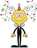 Cartoon Smiling Party Bee Royalty Free Stock Photo