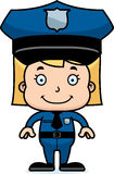 Cartoon Smiling Police Officer Girl Stock Images