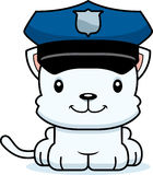 Cartoon Smiling Police Officer Kitten. A cartoon police officer kitten smiling Royalty Free Stock Photos