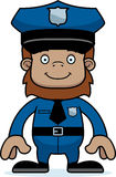 Cartoon Smiling Police Officer Sasquatch Stock Images