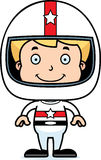 Cartoon Smiling Race Car Driver Boy Stock Image