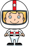 Cartoon Smiling Race Car Driver Girl Stock Images