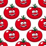 Cartoon smiling red tomatoes seamless pattern. Red ripe tomato seamless pattern in cartoon style with repeated motif of pulpy vegetables on white background for Royalty Free Stock Photo