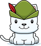 Cartoon Smiling Robin Hood Kitten Stock Images