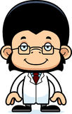 Cartoon Smiling Scientist Chimpanzee Royalty Free Stock Photos