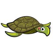 Cartoon smiling sea turtle. Happy cartoon sea turtle swimming Royalty Free Stock Image