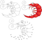 Cartoon smiling shrimp. Vector illustration. Dot to dot game for Stock Photo