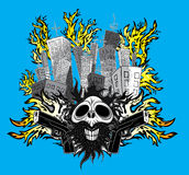 Cartoon smiling skull with guns and city buildings in fire. Cartoon smiling skull with guns and city tall buildings in fire Stock Photo