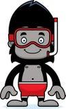 Cartoon Smiling Snorkeler Gorilla Stock Images