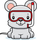 Cartoon Smiling Snorkeler Mouse Stock Images