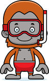 Cartoon Smiling Snorkeler Orangutan Royalty Free Stock Photo
