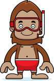 Cartoon Smiling Snorkeler Sasquatch Stock Images