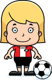 Cartoon Smiling Soccer Player Girl Royalty Free Stock Images