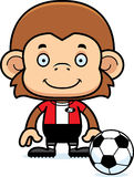 Cartoon Smiling Soccer Player Monkey Stock Images