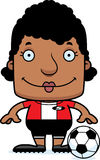 Cartoon Smiling Soccer Player Woman Stock Photography
